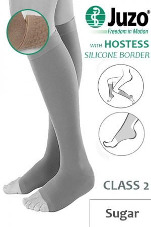Juzo Hostess Class 2 Sugar Knee High Compression Stockings with Open Toe and Thin Silicone Border