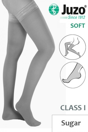 Juzo Soft Class 1 Sugar Thigh Compression Stockings with Tricot Border