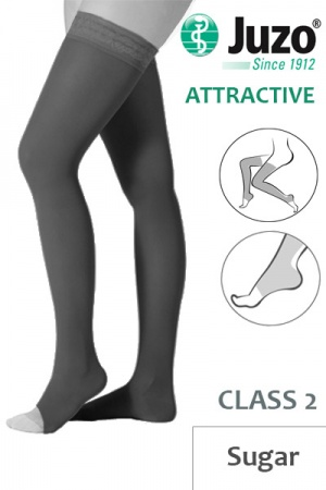 Juzo Attractive Class 2 Sugar Thigh High Compression Stockings with Open Toe