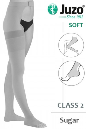 Juzo Soft Class 2 Sugar Thigh Compression Stocking with Open Toe and Waist Attachment