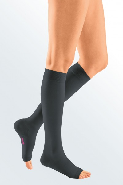 Medi Mediven Plus Class 1 Black Below Knee Compression Stockings with Open Toe