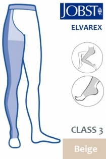 Jobst Elvarex Class 3 Beige Thigh High Compression Stockings with Open Toe and Waist Attachment