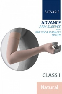 Sigvaris Advance 14 - 18 mmHg Natural Arm Sleeve With Grip Top and Seamless Mitten