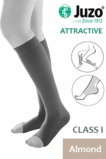 Juzo Attractive Class 1 Almond Below Knee Compression Stockings with Open Toe