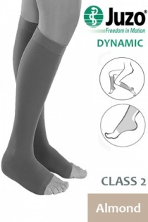 Juzo Dynamic Class 2 Almond Knee High Compression Stockings with Open Toe