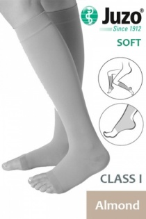 Juzo Soft Class 1 Almond Calf Compression Stockings with Open Toe