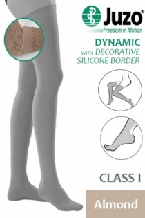 Juzo Dynamic Class 1 Almond Thigh High Compression Stockings with Decorative Silicone Border