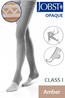 Jobst Opaque Class 1 Amber Thigh High Compression Stockings with Open Toe and Lace Silicone Band