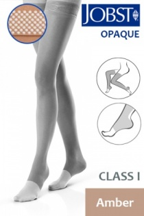 Jobst Opaque Class 1 Amber Thigh High Compression Stockings with Open Toe and Dotted Silicone Band