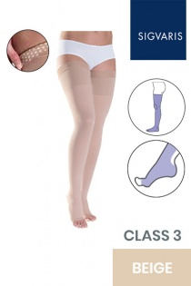 Sigvaris Traditional Unisex Class 3 Thigh High Beige Compression Stockings with Grip Top and Open Toe