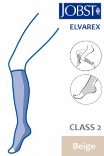 Jobst Elvarex Class 2 Beige Knee High Compression Stockings with Open Toe