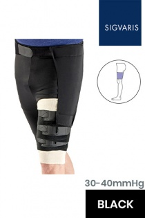 Sigvaris Comprefit Unisex Adjustable Black Thigh Compression Sleeve with Hip Attachment