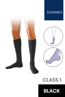 Sigvaris Initial Male Class 1 Knee High Black Compression Socks
