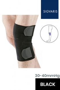 Sigvaris CompreKnee Standard Unisex Adjustable Black Knee Compression Sleeve