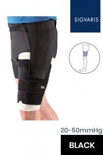 Sigvaris Compreflex Unisex Adjustable Black Thigh Compression Sleeve with Hip Attachment
