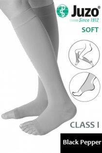 Juzo Soft Class 1 Black Pepper Calf Compression Stockings with Open Toe