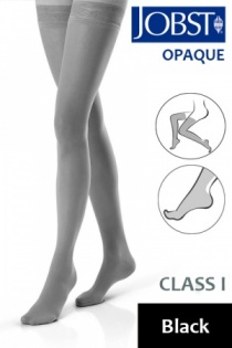 Jobst Opaque Class 1 Black Thigh High Compression Stockings