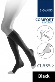 Sigvaris Unisex Comfort Class 2 Black Calf Compression Stockings with Open Toe