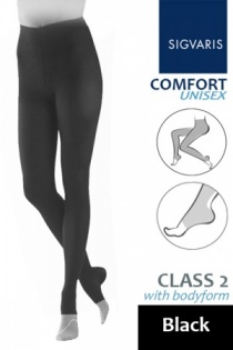 Sigvaris Unisex Comfort Class 2 Black Bodyform Compression Tights with Open Toe