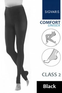 Sigvaris Unisex Comfort Class 2 Black Compression Tights with Open Toe