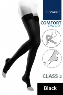 Sigvaris Unisex Comfort Class 2 Black Thigh Compression Stockings with Open Toe