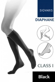 Sigvaris Diaphane Class 1 Black Calf Compression Stockings