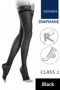 Sigvaris Diaphane Class 2 Black Thigh Compression Stockings with Open Toe
