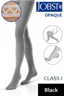 Jobst Opaque Class 1 Black Thigh High Compression Stockings with Lace Silicone Band