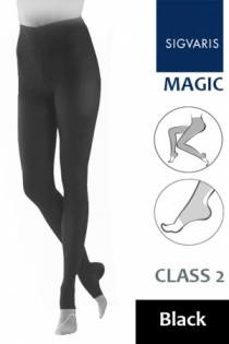Sigvaris Magic Class 2 Black Compression Tights with Open Toe