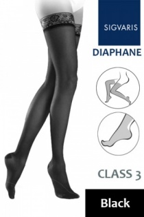 Sigvaris Diaphane Class 3 Black Thigh Compression Stockings