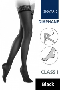 Sigvaris Diaphane Class 1 Black Thigh Compression Stockings