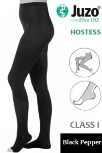 Juzo Hostess Class 1 Black Pepper Compression Tights with Open Toe