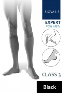 Sigvaris Expert for Men Class 3 Black Calf Compression Stockings