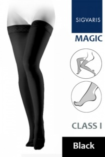 Sigvaris Magic Class 1 Black Thigh Compression Stockings