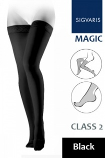 Sigvaris Magic Class 2 Black Thigh Compression Stockings