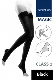 Sigvaris Magic Class 2 Black Thigh Compression Stockings with Open Toe