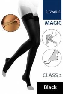 Sigvaris Magic Class 2 Black Thigh Compression Stockings with Knob Grip Top and Open Toe