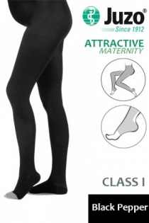 Juzo Attractive Class 1 Black Pepper Maternity Compression Tights with Open Toe