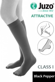 Juzo Attractive Class 1 Black Pepper Below Knee Compression Stockings