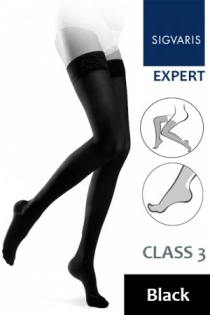 Sigvaris Expert for Women Class 3 Black Thigh Compression Stockings