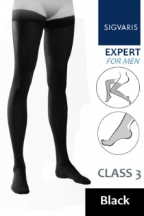 Sigvaris Expert for Men Class 3 Black Thigh Compression Stockings
