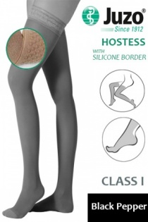 Juzo Hostess Class 1 Black Pepper Thigh High Compression Stockings with Silicone Border