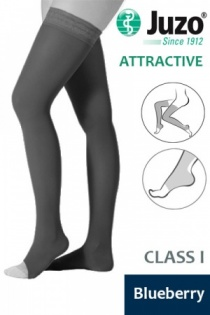 Juzo Attractive Class 1 Blueberry Thigh High Compression Stockings with Open Toe