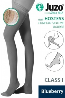 Juzo Hostess Class 1 Blueberry Thigh High Compression Stockings with Comfort Silicone Border