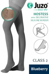 Juzo Hostess Class 2 Blueberry Thigh High Compression Stockings with Decorative Silicone Border