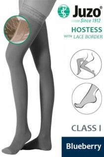 Juzo Hostess Class 1 Blueberry Thigh High Compression Stockings with Lace Silicone Border