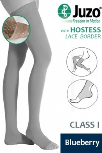 Juzo Hostess Class 1 Blueberry Thigh High Compression Stockings with Open Toe and Lace Silicone Border