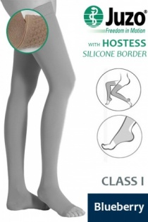 Juzo Hostess Class 1 Blueberry Thigh High Compression Stockings with Open Toe and Silicone Border