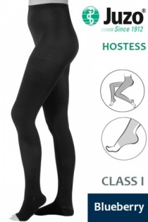 Juzo Hostess Class 1 Blueberry Compression Tights with Open Toe