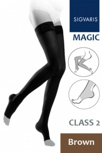 Sigvaris Magic Class 2 Brown Thigh Compression Stockings with Open Toe